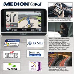 Das Aldi-Navigationssystem MedionGoPal E 4430 wird ab 26.6.2008 verkauft. Foto: Aldi