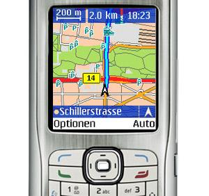 Handy Navigation mit dem Falk Mobile Navigator. Foto: Falk.