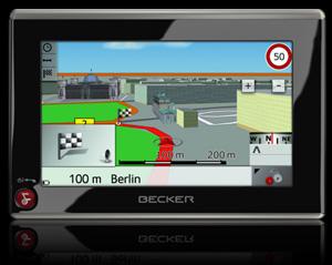 Becker Z201: Mobiles Navigationssystem mit TMC Stauumfahrung. Foto: Becker.