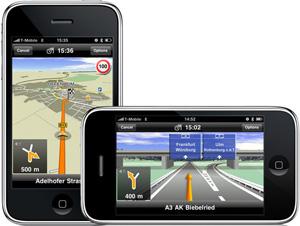 Das iPhone von Apple als Navi: Navigon hat eine Software mit Live-Staumeldungen dafür entwickelt. Foto: Navigon.