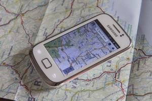 Smartphone mit Navi-App