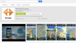 Screenshot Navigon-App, Google Play Store